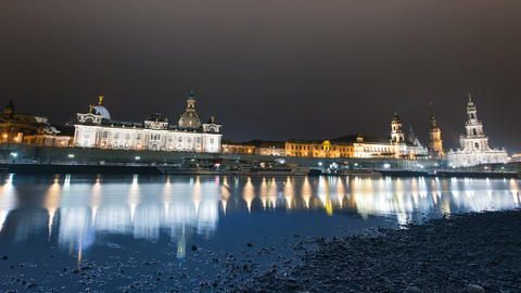 4k UHD Old Town Dresden At Night Time Lapse 11278 stock footage