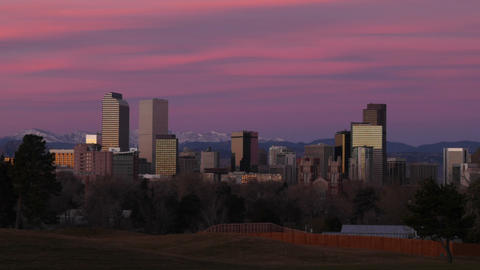 Pink Clouds Over Denver Skyline Time Lapse stock footage