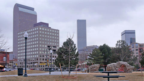 Pan Of Downtown Denver Colorado stock footage