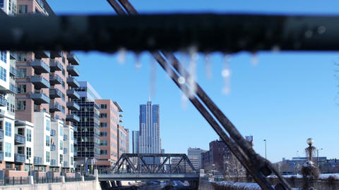 Rack Focus From Icicles To Cityscape stock footage