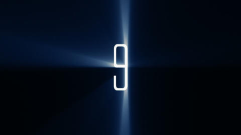 Countdown 10 to 1 with Blue Light Rays (25fps) Animation