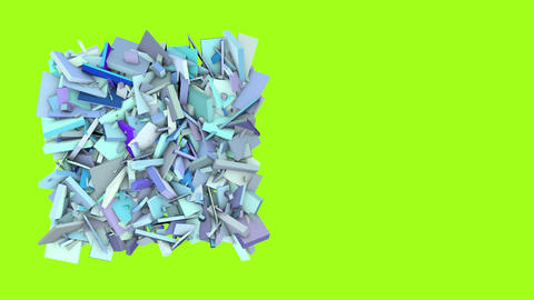 3d abstract blue spiked shape on green Animation