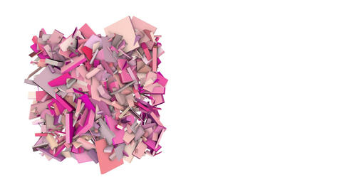 3d abstract pink red spiked shape on white Animation