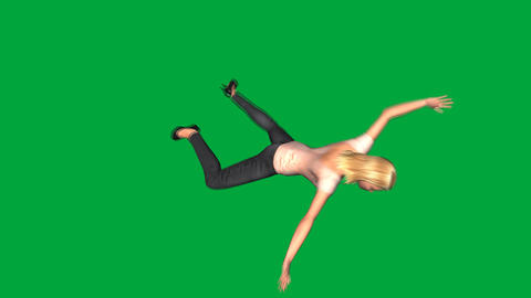 Four Characters Falling, Side View (Green Screen) Animation