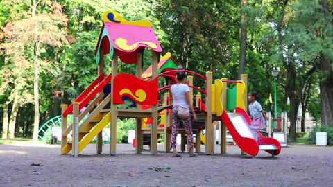 children playing in the playground Footage