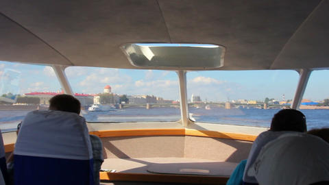 sail on Neva River in passenger boat - St. Petersb Footage