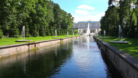 main channel in park Peterhof in St. Petersburg Ru Footage