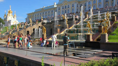 Grand Cascade fountains in Peterhof park - St. Pet Footage