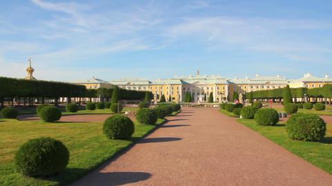 panorama of Petergof upper park in Saint-petersbur Footage