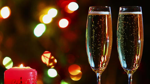 Glasses With Champagne And Candle - Romantic Eveni stock footage