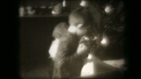 Old Family Christmas Movie Shown On A Film Project stock footage