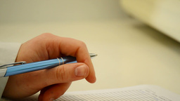 Hand With A Pen Plane Resource stock footage