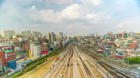 Seoul City 263 Train Station Traffic stock footage
