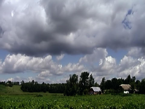 Rustic landscape, sky and deep clouds, time lapse Stock Video Footage
