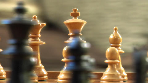 Chess radial dolly track around King rigth Stock Video Footage