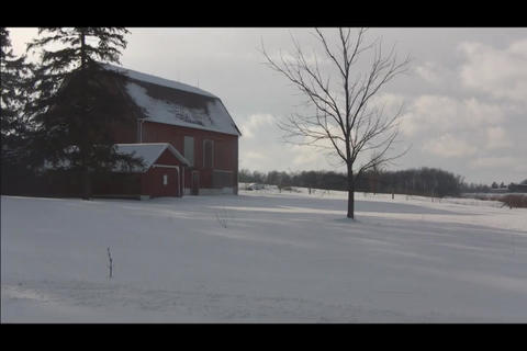 Barn on left side Stock Video Footage
