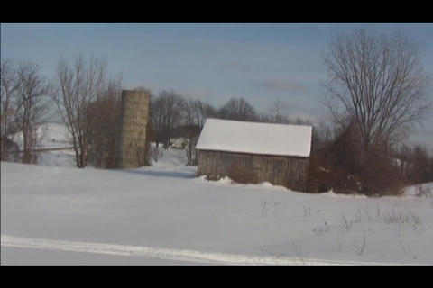 lonely barn and silo in distance Footage
