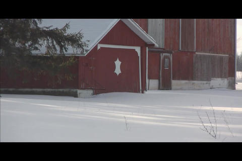 tiny barn in center Stock Video Footage