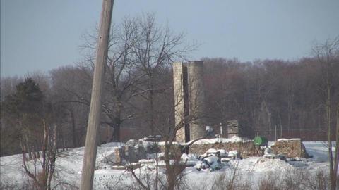 rundown silo in winter Stock Video Footage