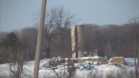 rundown silo in winter Stock Video Footage