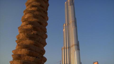 Palm at Burj Khalifa Dubai Stock Video Footage