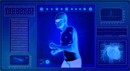 Checking human abilities - x-ray view. Health jogging Animation