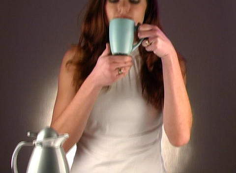 Woman Pouring Coffee, Studio Setup (2b) Stock Video Footage