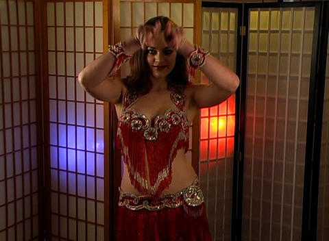 Beautiful Exotic Belly Dancer with Heart Graphic (3) Stock Video Footage