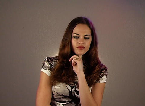 iBeautiful Brunette Has a Great Idea (2) Stock Video Footage