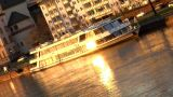 Boat On River Evening Sun Reflection stock footage