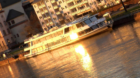 Boat on River evening sun reflection Stock Video Footage