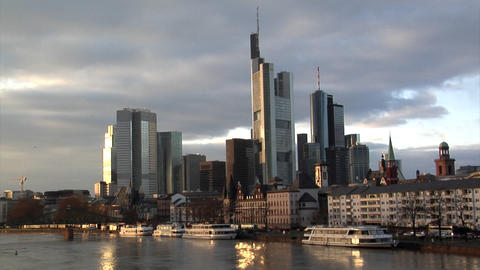 Frankfurt Germany Skyline birds crossing Stock Video Footage