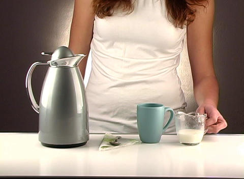 Woman Pouring Coffee, Studio Setup (2a) Stock Video Footage