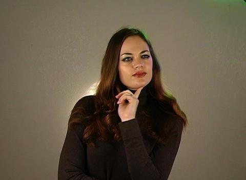 Beautiful Brunette Has a Great Idea (1) Stock Video Footage