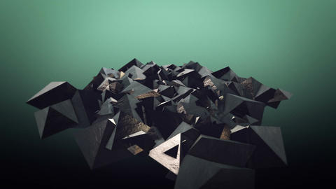 Floating pyramids morph into scattered cubes Animation