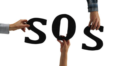 Letters Hands SOS Emergency stock footage