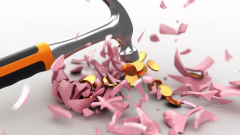 the hammer breaks a piggy bank Animation
