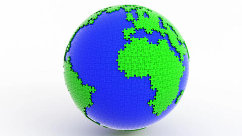 Rotating isolated globe (earth) from puzzle Animation