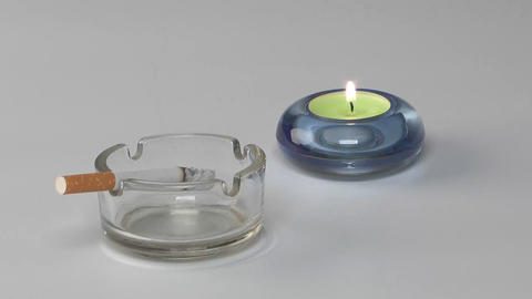 Cigarette and candle Footage