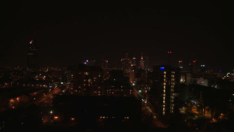 Warsaw downtown by night - long shot Footage