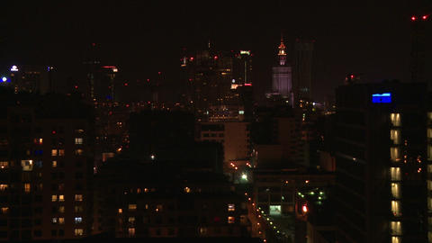 Warsaw Night - Without Corection stock footage