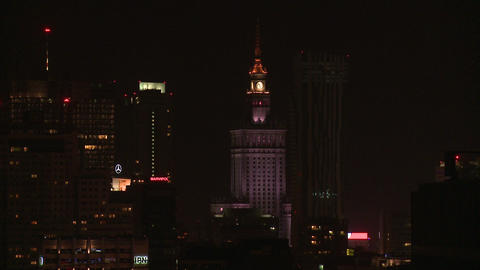 Warsaw night long shot without corection Footage
