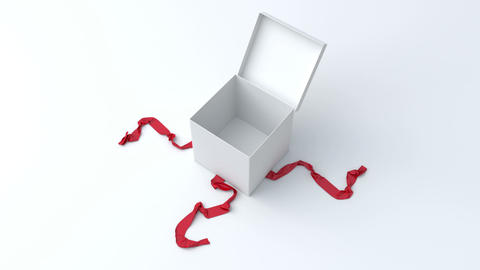 White gift box with red ribbon opening Animation