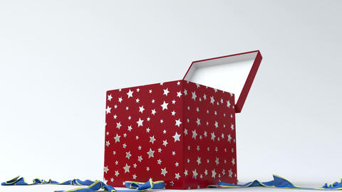 Red - silver star gift box with blue ribbon opening Animation