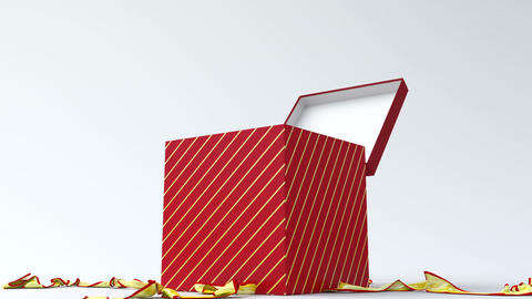 Red gift box with gold ribbon opening Animation