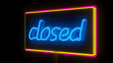 Neon Closed Sign Stock Video Footage