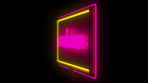 Welcome, open neon sign Animation