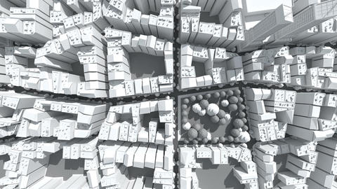Fly over blank city, Stock Animation