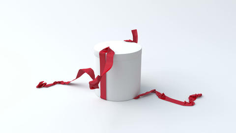 White Gift In The Shape Of A Cylinder With Red Rib stock footage