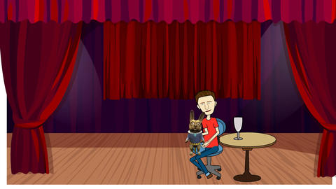 Cartoon Ventriloquist on Stage Animation